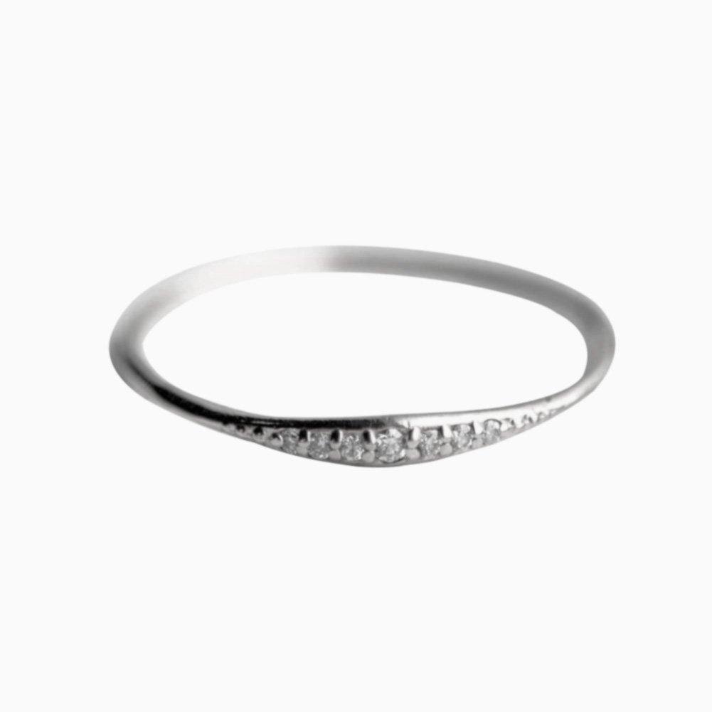 ZHUOTOP Women Bohemian Crystal Rhinestones Thin Band Ring Simple Classic