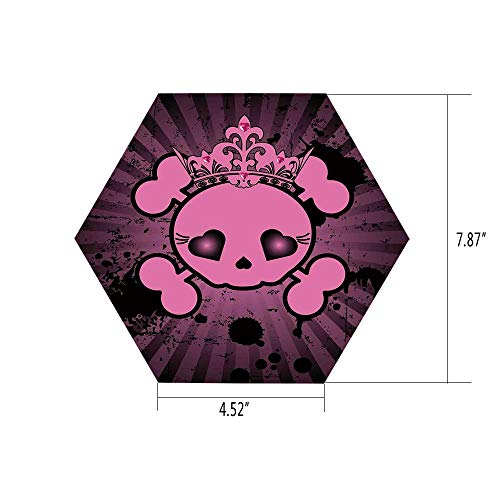 PTANGKK Hexagon Wall Sticker,Mural Decal,Skull,Cute Skull Illustration with Crown Dark Grunge Style Teen Spooky Halloween Print Decorative,Pink Black,for Home Decor 4.52x7.87 10 Pcs/Set -