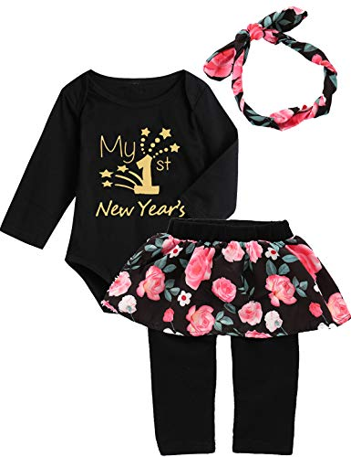New Outfit 2019 (Mutiggee My First New Year Outfit Baby Girls Floral Pant Clothing Sets (Black, 0-3)