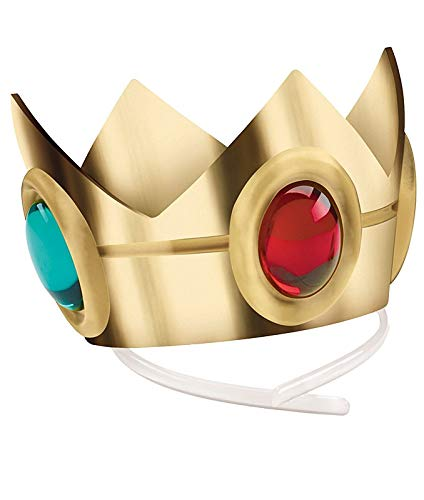 Princess Crown Costume (Disguise Women's Nintendo Super Mario Bros.Princess Peach Crown Costume Accessory, Gold/Red/Green, One)