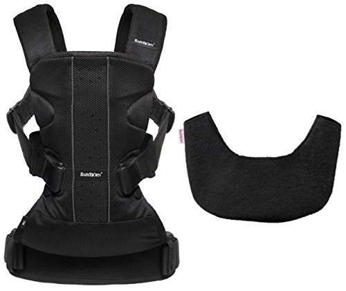 BABYBJORN Baby Carrier One Bundle Pack - Black, Mesh and Bib for Carrier One