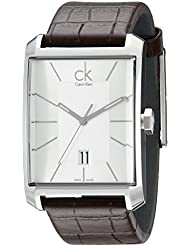 Calvin Klein Mens K2M21126 Window Silver Dial Brown Leather Strap Swiss Quartz Watch