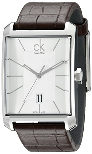 - Calvin Klein Men's K2M21126 'Window' Silver Dial Brown Leather Strap Swiss Quartz Watch