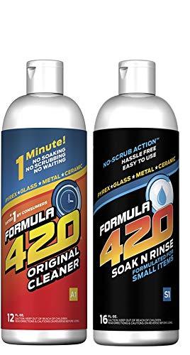Pair : 1 Bottle Glass Metal Ceramic Pipe Cleaner 12 Oz. & 1 Bottle Soak-N-Rinse 16oz (2 bottles total) ()
