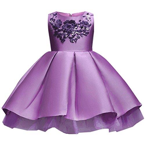 Kids Clothing Elegant Hand Beading Girls Dresses for Children Princess Party Costumes 3-10 Years,Purple,7 ()