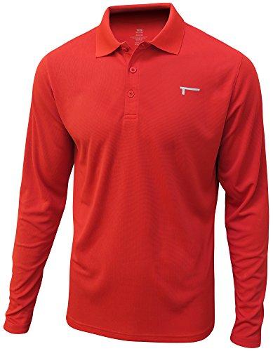 TREN Herren COOL Performance Flex Mesh LS Polo T-Shirt Langarm Rot 600 - M