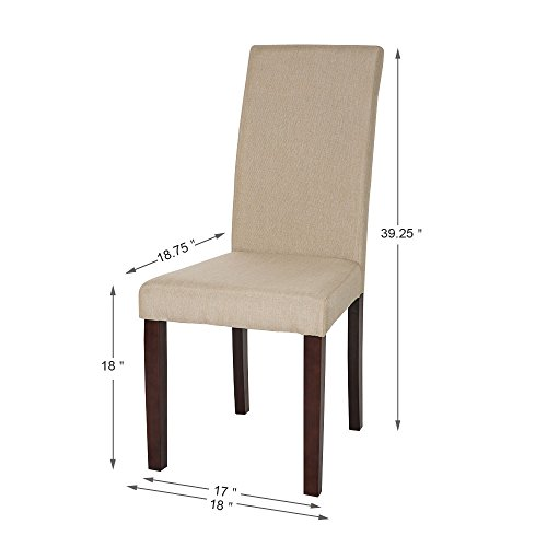 Glitzhome Padded Fabric Dining Chairs Beige, Set Of Two by Glitzhome (Image #6)'