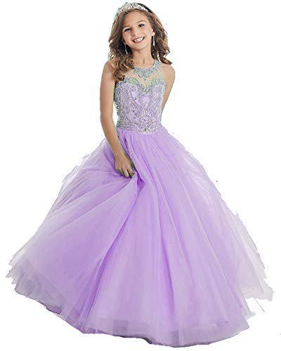 GreenBloom Rhinstone Crystal Girls' Formal Dresses A Line Floor Length Illusion Neck Pageant Dresses 14 Light Purple (Rhinstone Crystal)