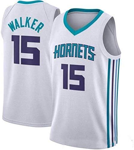 XIAOHAI Hombres Camisetas de la NBA Charlotte Hornets # 15 Kemba Walker Transpirable Resistente al Desgaste de Malla Bordado Baloncesto del Swingman de Jerseys