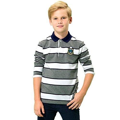 Leo&Lily Big Boys' Kids Long Sleeves Pique Casual Polo Shirts (10, Melange Stripes)