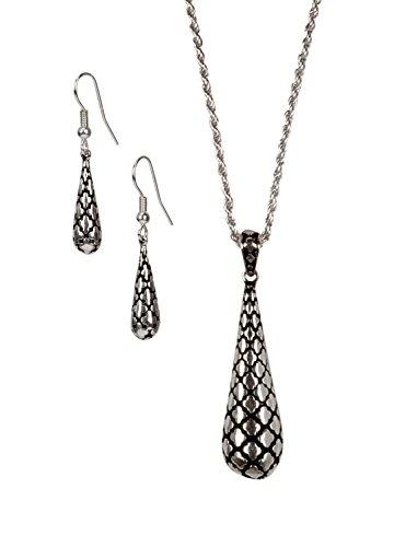 (SPUNKYsoul Big Teardrop Quarter-foil Design Necklace and Earrings in Silver for Women)