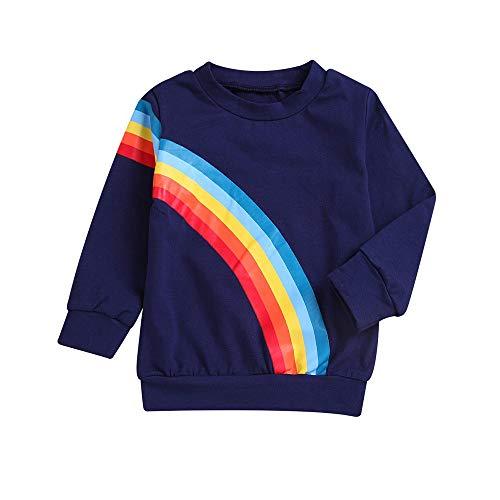 iDWZA Fashion Mommy & Me Children Kids Long Sleeves Rainbow Sweatshirt Top Family Clothes(Navy,90 -