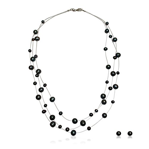 PearlsNSilver Black Pearl Illusion Necklace Earrings 2pc Set in 14K Over Sterling Silver 18