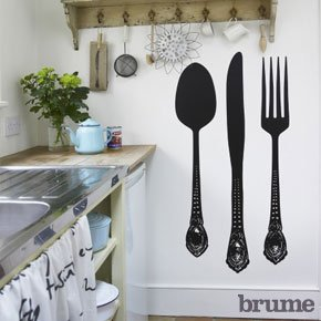 Giant cutlery wall sticker set kitchen home - Stickers salle a manger ...