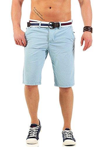JetLag Herren Chino Shorts kurze Hose 17-146 Stoff-Gürtel knielang baby blue W32
