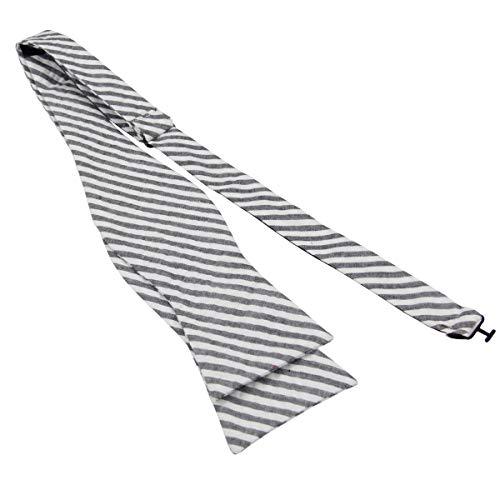 Mens 100% Cotton Seersucker Stripe Self Tie Bowties-Stripe Bow Ties-Various Colors (Gray)