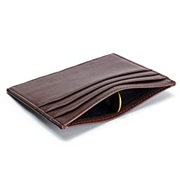 Slim Genuine Leather Credit Card Holder Front Pocket Wallet with RFID Blocking - Brown