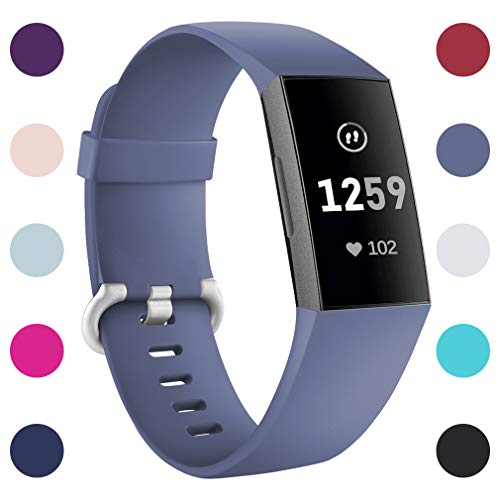 Hamile Replacement Bands Compatible for Fitbit Charge 3, Classic Edition Adjustable Sport Wristbands Watch Strap for Fitbit Charge 3, Large, Smooth Surface - Blue Gray
