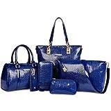 Mei&ge Crocodile Skin Pattern Glossy Finish PU/Synthetic Leather Handbags for Women - Set of 6 (STW)