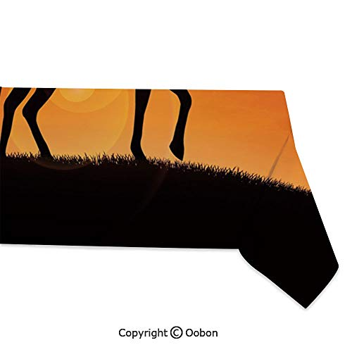 Space Decorations Tablecloth, Silhouette Cowboy Riding a Horse During Vibrant Sunset Sky Americana Landscape Decorative, Rectangular Table Cover for Dining Room Kitchen, W60xL120 inch