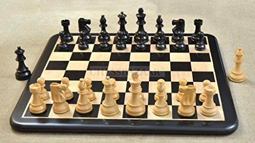 - Combo of Reproduced French Lardy Chess Pieces in Ebonized Boxwood & Ebony Wooden Chess Board - 3.75