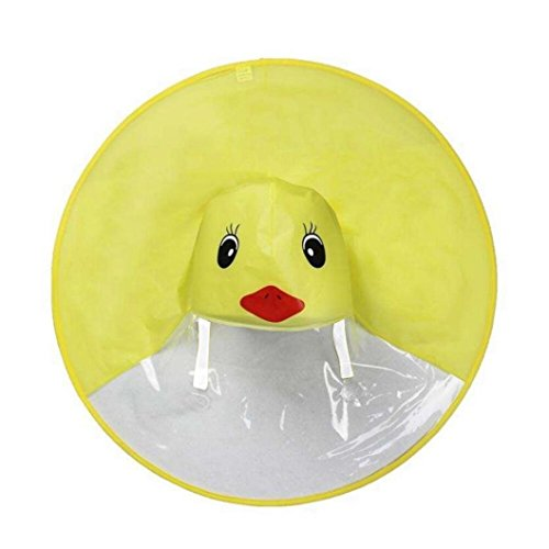 XILALU Kids UFO Raincoat, Windproof & Waterproof Foldable Cute Transparent Cartoon Duck Hands Free Umbrella Hat Funny Rain Coat-Scratch Resist (Yellow, Child S) by XILALU (Image #4)