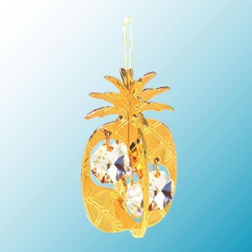 24K Gold Plated Hanging Sun Catcher or Ornament..... Pineapple with Clear Swarovski Austrian Crystal -  Mascot International Inc, Berkeley, CA, H-2658-CL