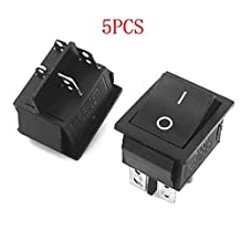 Gfortune 5PCS Black KCD4 Rocker Switch 4 Pins DPST On/Off 2 Position AC 250V/16A AC125V/20A for Electrical
