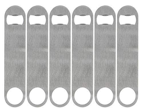 KISEER Heavy Duty Stainless Steel Flat Bottle Opener, 6 Pack Beer Bottle Opener for Kitchen, Bar or Restaurant -