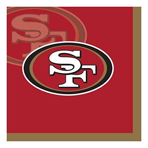 Creative Converting Officially Licensed NFL Paper Beverage Napkins, 192-Count, San Francisco 49ers