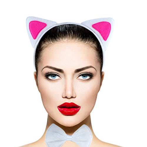 (Lux Accessories White Pink Cute Fun Kitty Cat Ears Bowtie Tail Costume)