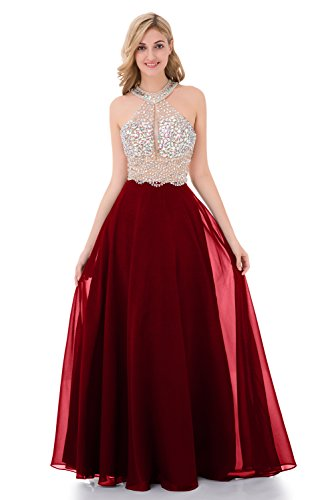 Sequined Bust Chiffon Dress (YuNuo Sparkly Crystal Beading Prom Dresses Long 2018 Sexy Open Back Party Ball Gown Scoop Bridesmaid Dresses Burgundy-US12)
