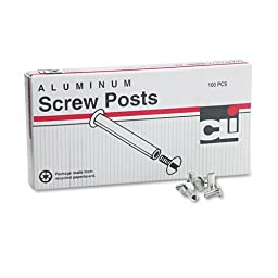 Post Binder Aluminum Screw Posts, 3/16\'\' Diameter, 1/2\'\' Long, 100/Box