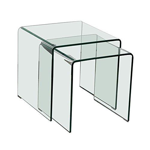 Glastisch 2tlg ausziehbar Wohnzimmer Esszimmer Küche Glas Tisch Beistelltisch BHP Alana B154076