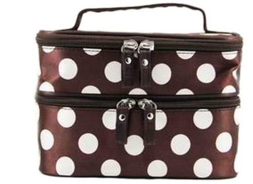 Dealzip Inc Fashion Women Brown and White Dots Printed Zipper Cosmetic Makeup Bag (Max Dot)