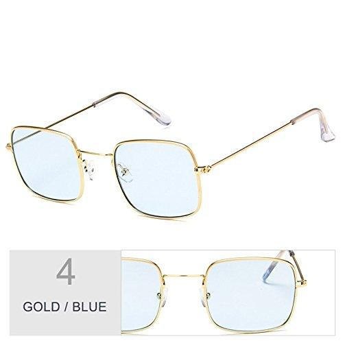 Claro De Blue Con Sol Mujer Gafas Gold Sobredimensionado Gafas De De TIANLIANG04 Plateado Metal Marco Sol wOgCWq