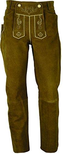 Lederhose lang Herren/Damen- Trachten Lederhose lang in echt Leder festem Nubuk, Bayerische Lederhose in Camel (34, Hellbraun)