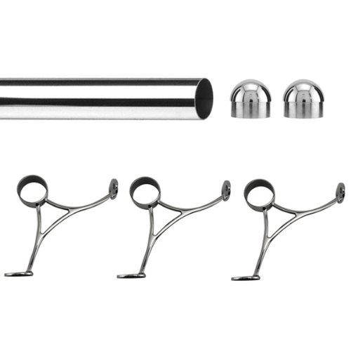 Bar Foot Rail Kit - Polished Stainless Steel- 8' Length