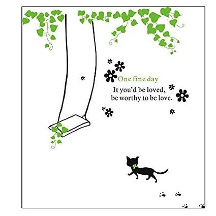 Room Decor extraíble vid verde Negro Modelo del gato etiqueta de la ...
