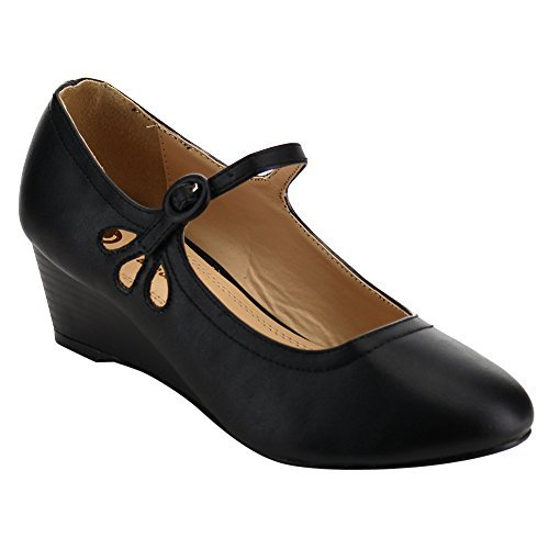 Chase & Chloe EC77 Women's Mary Jane Mid Wedge Pumps, Color:BLACK, Size:9 (Chloe Black Shoes)
