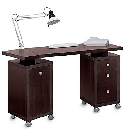 Mesa de manicura con accesorios con cajón y armario cuadrado doble ...