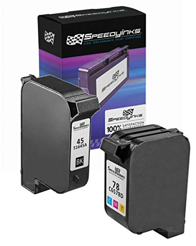 Speedy Inks Remanufactured Ink Cartridge Replacement for HP 45 & HP 78 (1 Black, 1 Color, 2-Pack) (Hp Printer Ink Cartridge 78)