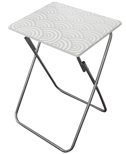 Home Basics Multi-Purpose Sturdy Durable Decorative Bedside Laptop Snack Cocktails TV Folding Table Tray Desk Bedside Laptop Snacks (Silver)