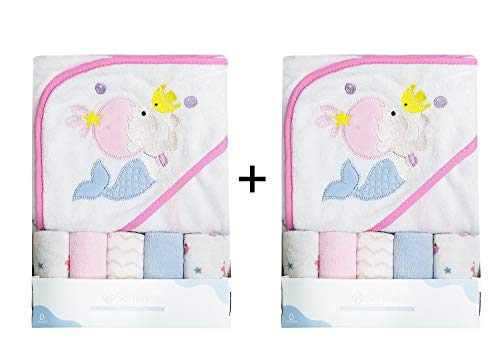 Softan Baby Hooded Bath Towel and Washcloths | Extra Soft and Ultra Absorbent | 12 Pack Gift for Newborn and Infants ()