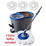 Simpli-Magic 79154 Spin Cleaning System with 3 Microfiber Mop Head Refills Included, Industrial