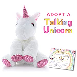 MORDUN Talking Plush Unicorn | Pink Cute Stuffed Animal | Christmas Gifts Ideas Interactive Toys for Girls Kids Teens