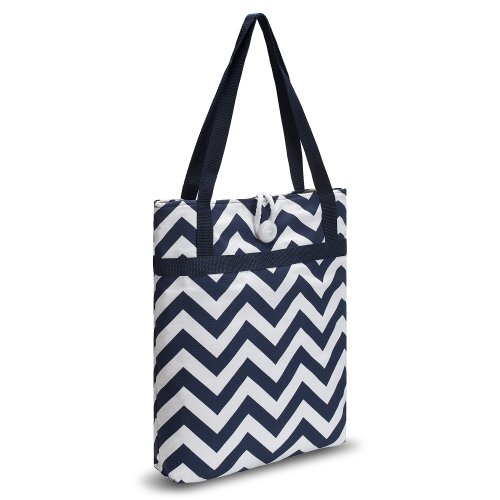Kuzy – Navy Blue Chevron Zig-Zag Travel Tote Bag Cotton Handmade 16-inch for MacBook and Laptop, Book Bags – Navy Blue