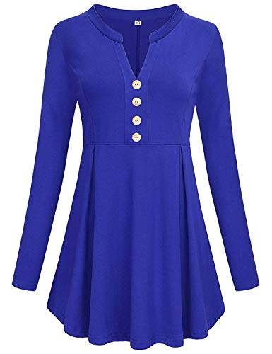 - Luranee Royal Blue Shirts for Women, Long Sleeve Blouses High Waist Tops Pleated Front Trapeze Babydoll Tunics Comfortable Silhouette Aesthetic Drapes Figure Flattering A Line Business Clothes XXL