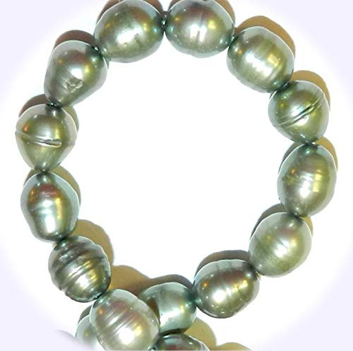 (New Sage Green 8mm Rice Cultured Freshwater Pearl Jewelry-Making Beads 16-inch DIY Craft Supplies for Handmade Bracelet Necklace)