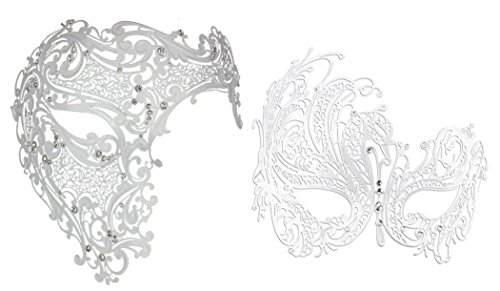White Gold Mask Venetian & Crystal (Venetian Phantom Of the Opera Couple Half Face Mask with Crystal)